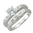14K White Gold Round and Tap Baguette Diamond Bridal Ring
