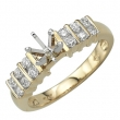 Yellow Gold Round Diamonds Semi-Mount