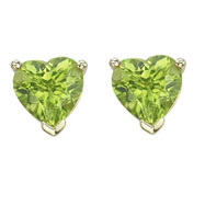 Picture of HEART SHAPE GREEN PERIDOT PRONG SET STUDS