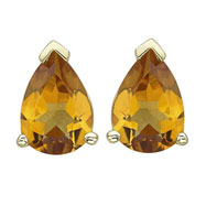 Picture of PEAR SHAPE YELLOW CITRINE PRONG SET STUDS