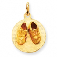 Picture of 14k Small Solid Engraveable Baby Shoes on Disc Charm