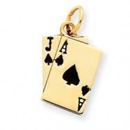 Picture of 14k Enameled Blackjack Playing Cards Charm