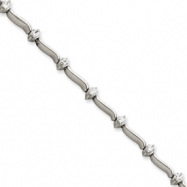 Picture of 14k White Gold 7in Holds 14 2.6mm Stones .98ct Bar Link Tennis Bracelet Mou