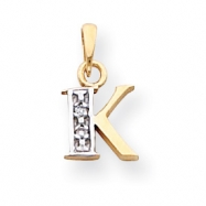 Picture of 14k & Rhodium Polished .01ct Diamond Initial K Charm