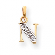 Picture of 14k & Rhodium Polished .01ct Diamond Initial N Charm