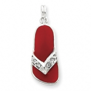 Picture of Sterling Silver Red Enameled CZ Flip Flop Charm
