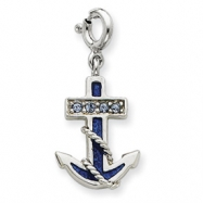 Picture of Sterling Silver Blue Enameled Anchor w/Crystals Charm