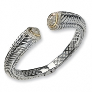 Picture of Sterling Silver w/14k Diamond Hinged Bangle Bracelet