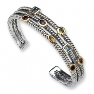 Picture of Sterling Silver w/14k Gemstone Bangle Bracelet