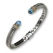 Picture of Sterling Silver w/14k Antiqued Diamond/Blue Topaz Hinged Bracelet