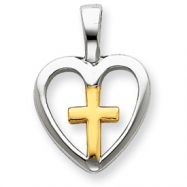 Picture of Sterling Silver Vermeil Cross Heart Pendant