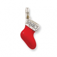 Picture of Sterling Silver CZ Enamel Stocking Charm
