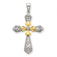 Picture of Sterling Silver Vermeil CZ Cross Pendant