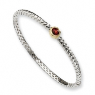 Picture of Sterling Silver w/14ky 6mm Garnet Hinged Bangle Bracelet