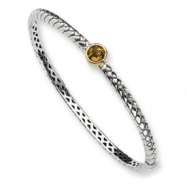 Picture of Sterling Silver w/14ky 6mm Citrine Hinged Bangle Bracelet