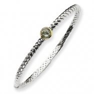 Picture of Sterling Silver w/14ky 6m Green Amethyst Hinged Bangle Bracelet