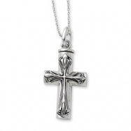 Picture of Sterling Silver Antiqued Cross Ash Holder 18in Necklace