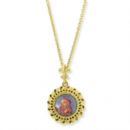 Picture of Gold-tone Blessed Flower of the Lily Locket 24in Necklace