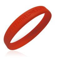 "Picture of Official Aids ""Hope Faith Love Life"" Red Awareness Wristband"