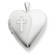 Picture of Sterling Silver 20mm with Cross Design Heart Locket chain