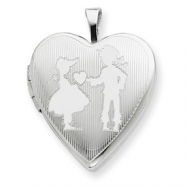 Picture of Sterling Silver 20mm Boy giving a Heart to Girl  Heart Locket chain