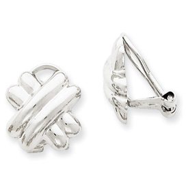 Picture of 14k White Gold Polished Non-pierced X Omega Back Earrings