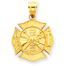 Picture of 14k Reversible Fire Department Shield Pendant