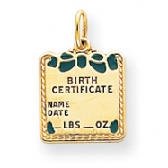 Picture of 14k Enameled Blue Engraveable Birth Certificate Charm