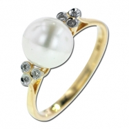 Picture of Fresh Water Pearl Diamond Ring