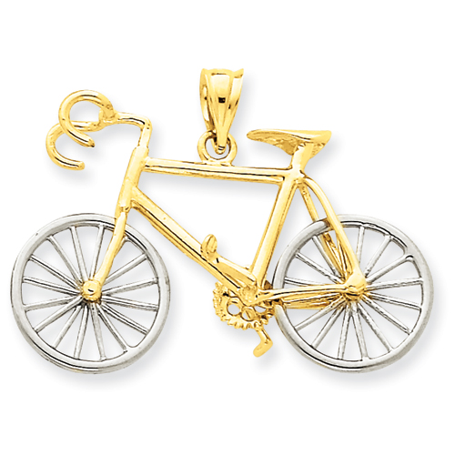 14k large two tone 3 d bicycle pendant aloadofball Gallery