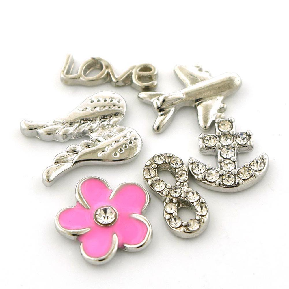 Picture of Set of Six (6) Love Theme Flower Love Airplane Angel Wings Anchor Infinity Floating Charms for Floating Charms Locket