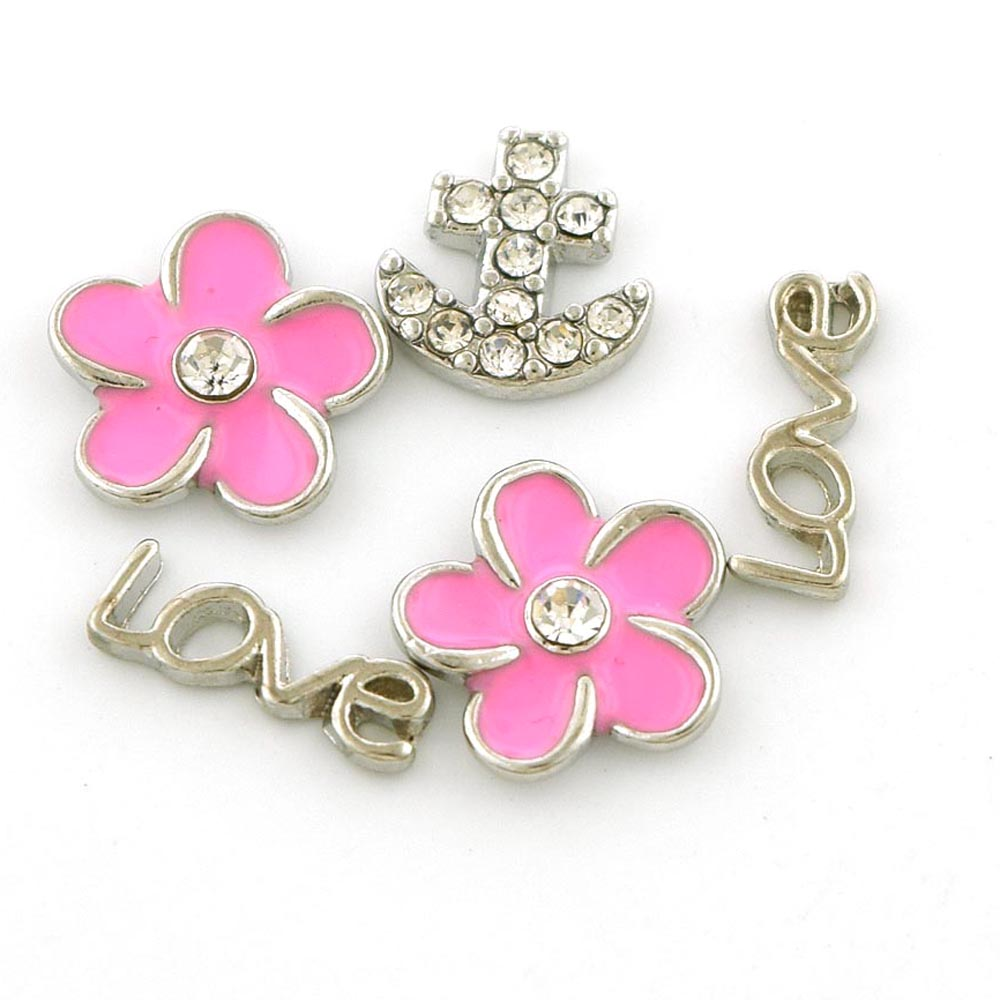 Picture of Set of Five (5) Love Pink Flowers Anchor Floating Charms for Floating Charms Locket