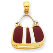 14K Two-Tone Gold Maroon Enameled Purse Pendant