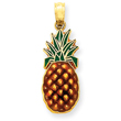 14K Gold Enameled Pineapple Pendant