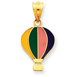 14K Gold Yellow, Green, Pink, Dark Blue Hot Air Baloon Charm