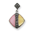 Sterling Silver Marcasite Pink And Yellow Mother Of Pearl Pendant