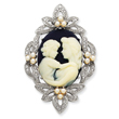 Sterling Silver CZ Simulated Pearl Cameo Slide