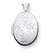 Sterling Silver Scroll Oval Locket