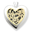14K Gold & Sterling Silver Heart With  I Love You Locket