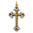 Sterling Silver Antiqued 18K Gold Plated Cross Pendant