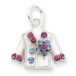 Sterling Silver Multi-Colored Crystal Shirt Charm