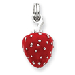 Sterling Silver Red Enamel Strawberry Charm