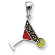 Sterling Silver Red & Green Enameled Martini Pendant