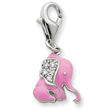 Sterling Silver Pink Enameled CZ Elephant Charm