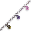 Sterling Silver Polished Dangling Multi-Colored CZ Bracelet