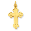 Sterling Silver 24K Gold Plated Budded Cross Pendant