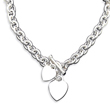 Sterling Silver Engraveable Heart Disc On Fancy Link Toggle Bracelet