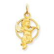 14K Gold Satin Angel With Trumpet Charm