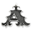 Sterling Silver Antiqued Gothic Initial A Pendant