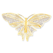 14K Gold Rhodium Butterfly Pin